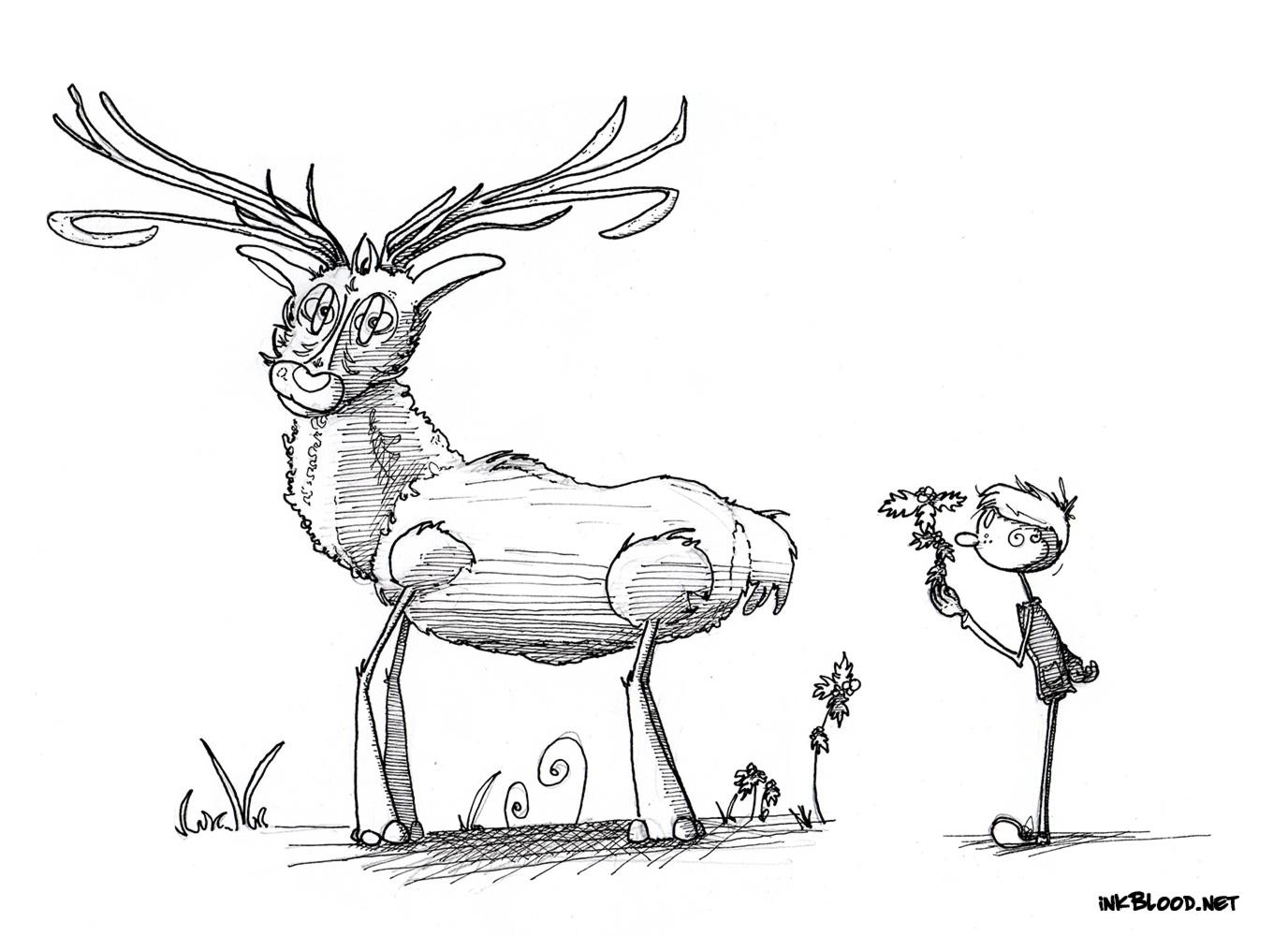 2-Dessin-de-Noël-à-colorier-renne-enfant-houx