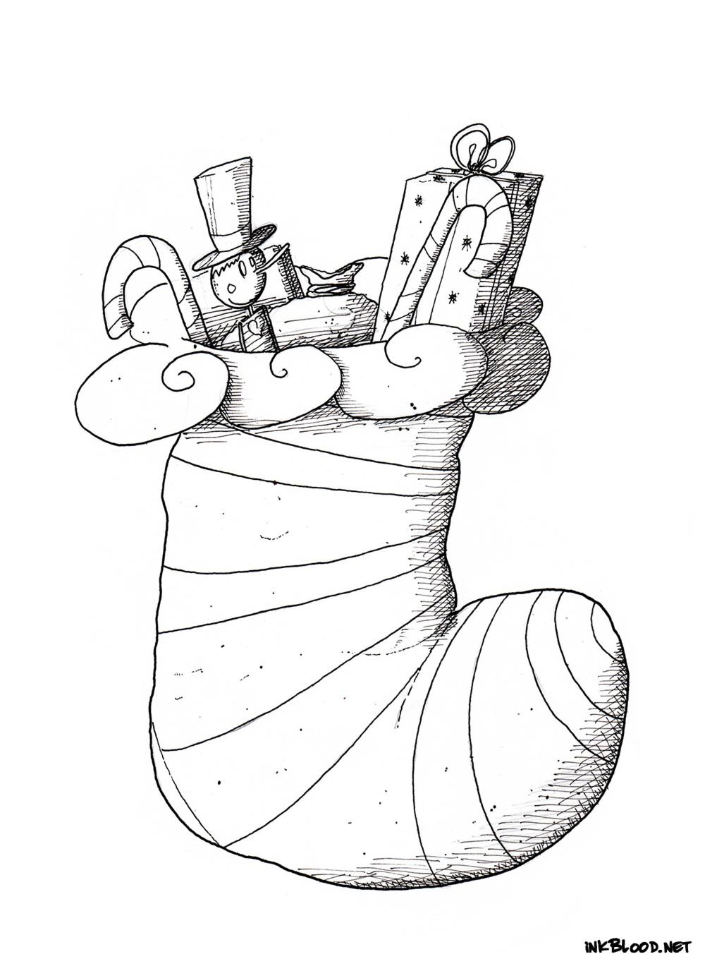 8-Dessin-de-Noël-à-colorier-chaussette-de-noël