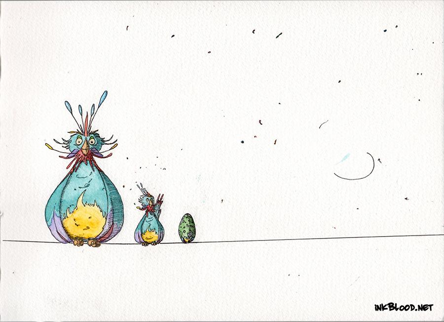 Oiseaux-Aquarelle-Inkblood-6 Sur le fil