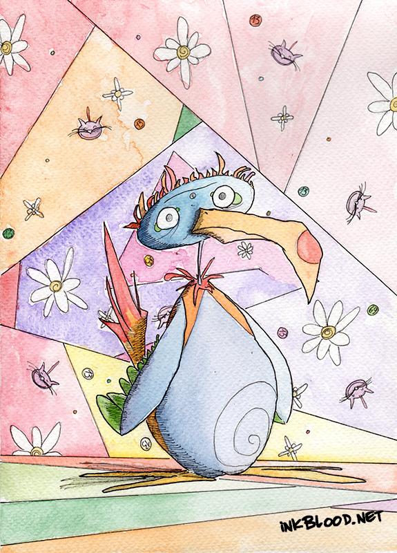 Oiseaux-Aquarelle-Inkblood-Chambre de fille