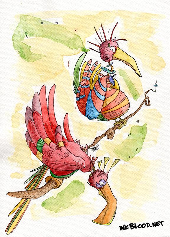 Oiseaux-Aquarelle-Inkblood-Dey & Rézon