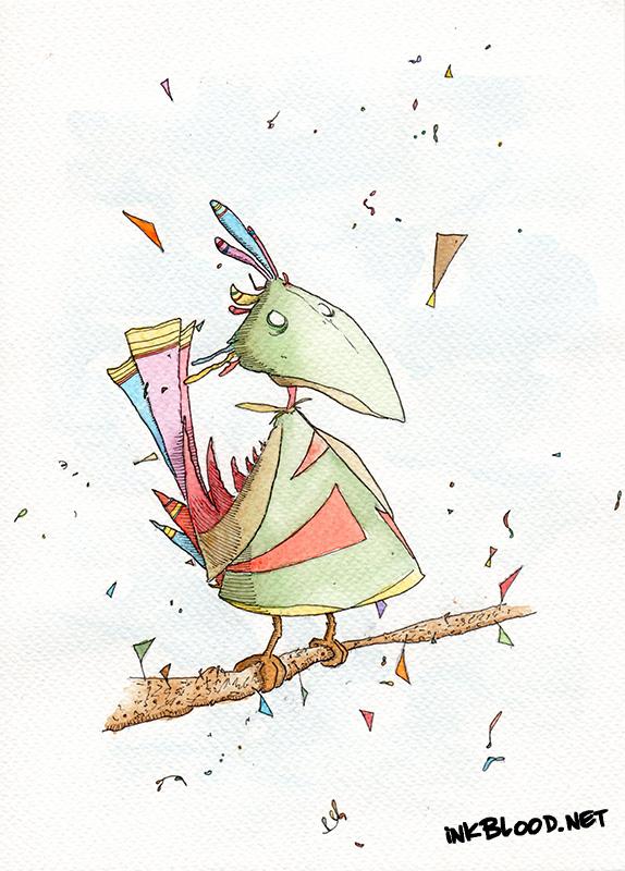 Oiseaux-Aquarelle-Inkblood-Le petit oiseau