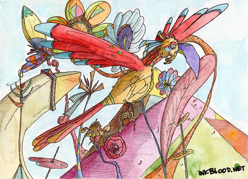 Oiseaux-Aquarelle-Inkblood-Râmheur
