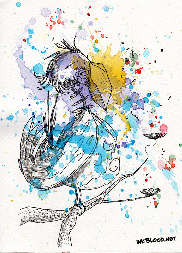 Oiseaux aquarelle Bolrug- RdlCplDdlC