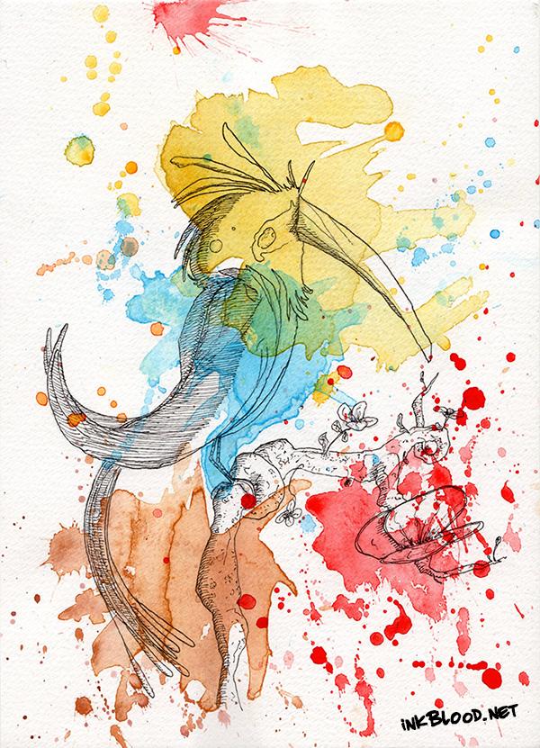Oiseaux aquarelle Petit Citron-Bleu RdlCplDdlC
