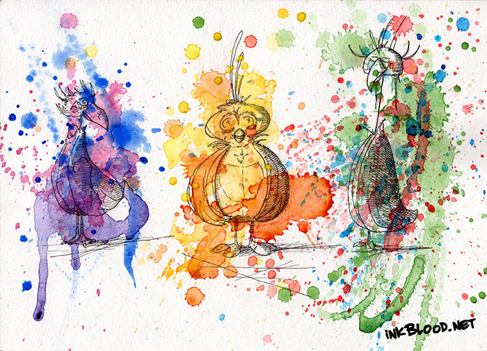 Oiseaux-aquarelle-Trio-RestructurationDeLaCreationParLaDestructionDeLaColoration