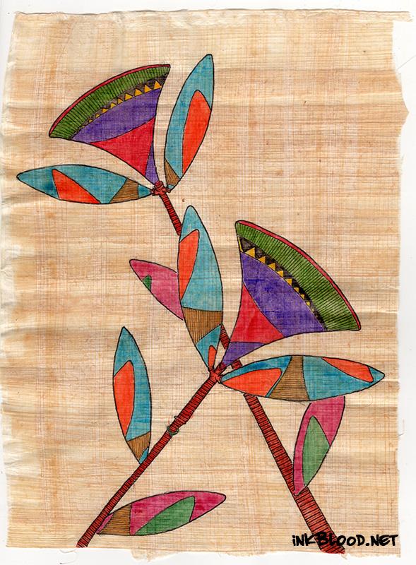Fleurs-Aquarelle-Papyrus-Inkblood-Aurore & Jade