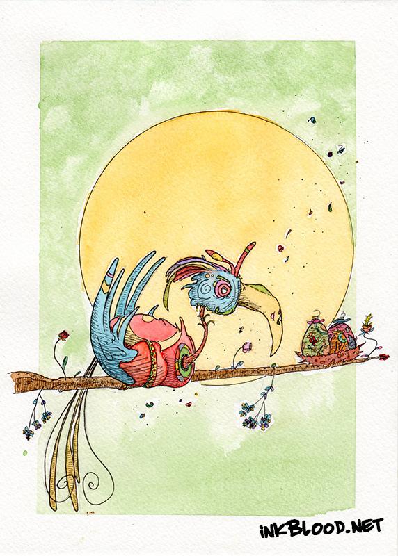 Oiseaux-Aquarelle-Inkblood-Calme