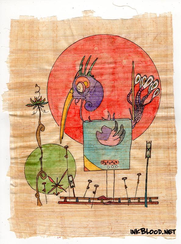 Oiseaux-Aquarelle-Papyrus-Inkblood-Infiltré