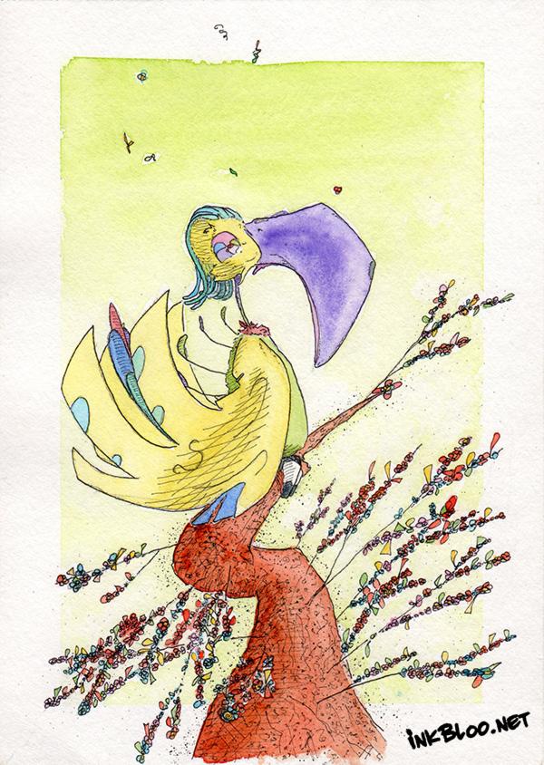 Oiseaux-Aquarelle-Inkblood-Bonzaï