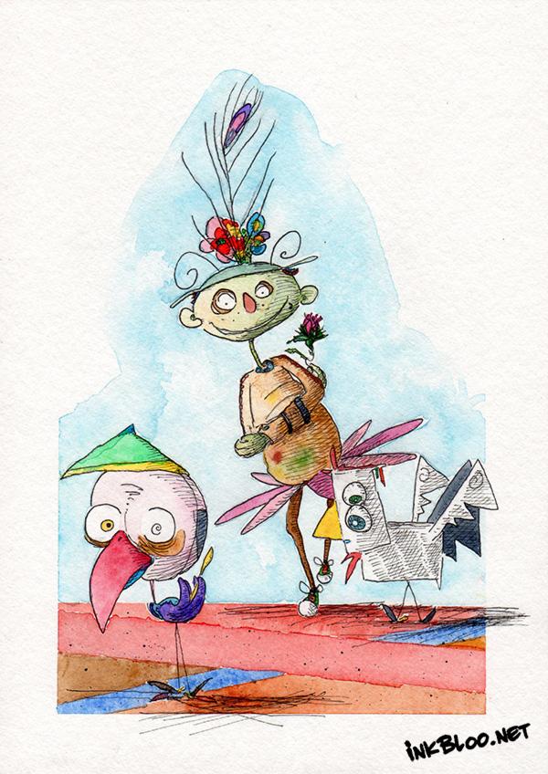 Oiseaux-Aquarelle-Inkblood-C'est-là