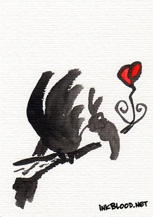 Oiseaux-Inkblood-Encre-de-Chine-Coeurt