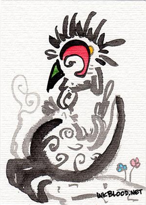 Oiseaux-Inkblood-Encre-de-Chine-Sagesse