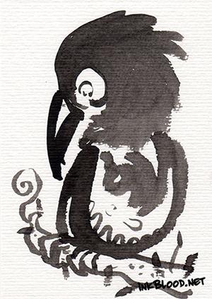 Oiseaux-Inkblood-Encre-de-Chine-Timide