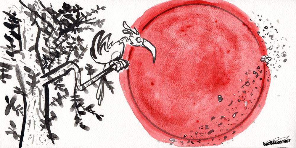 Oiseaux-Inkblood-Encre-de-chine-Lune-Rouge