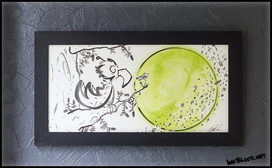 Oiseaux-Inkblood-Encre-de-chine-Lune-Verte-Cadre