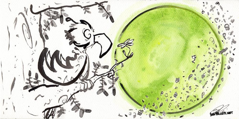 Oiseaux-Inkblood-Encre-de-chine-Lune-Verte