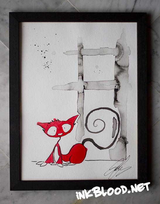 aquarelle-encre-de-chine-chat-rouge-net-inkblood