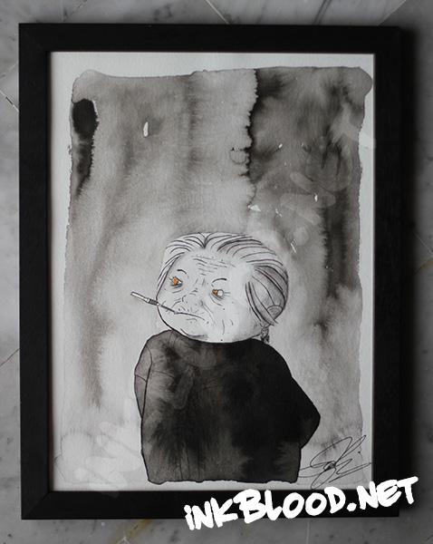 La-vieille-dame-en-noir-au-porte-cigarettes-et-aux-yeux-d'or-fusain-encre-de-chine-inkblood.net
